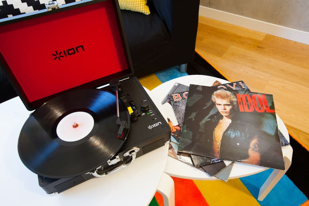 We provide a small turntable with a collection of our favourite records!