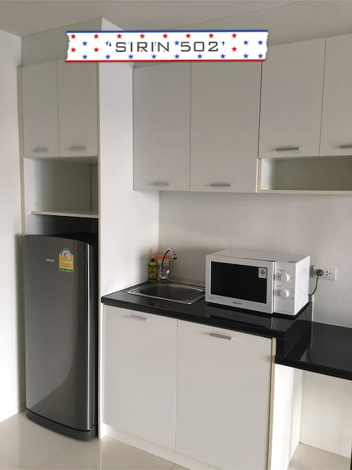 Combeniently provided with refrigerator, microwave oven and washing basin.
