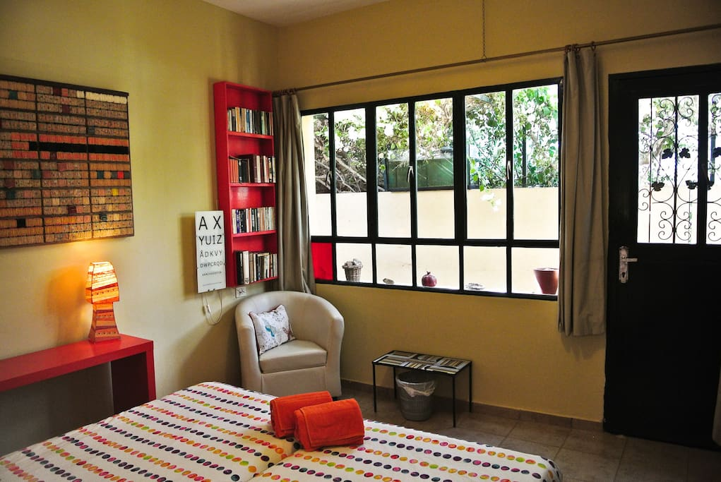 South African room. Twin beds. En-suite shower room.  Kettle and fridge on terrasse.