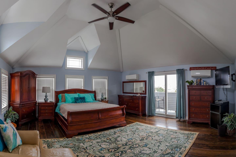 Large bedroom with ocean views