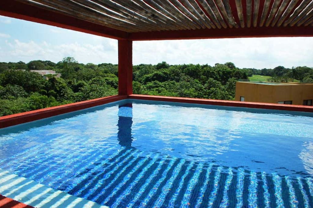 PH Sian Kaan private rooftop with small pool and beautiful golf course views