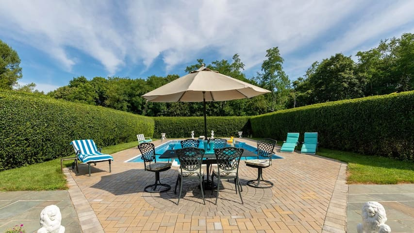 New Listing: Laid-Back Refinement in Southold, Estate w/ Heated Pool & Tuscan-Style Gardens
