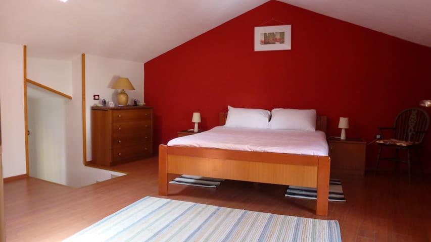 Bedroom in warm colors.