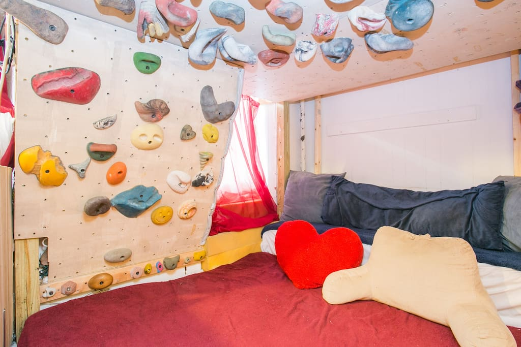 Cozy spot under the loft bed can sleep two additional people comfortably!