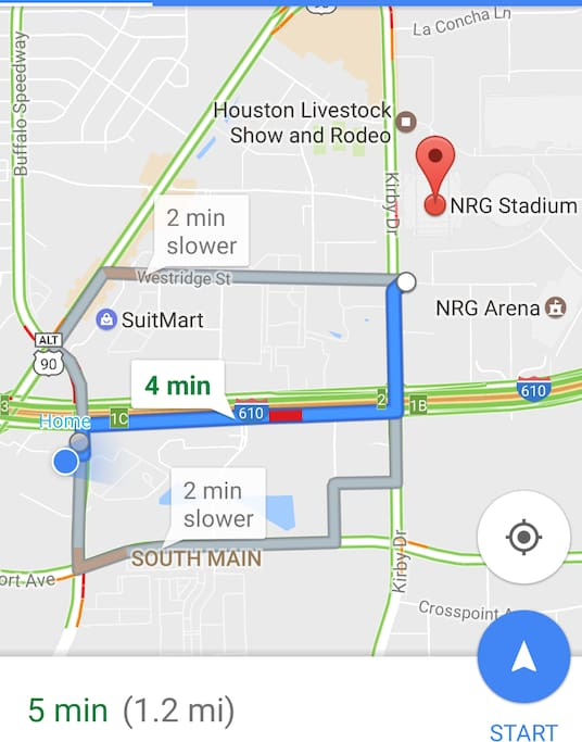 Directions and Proximity to Superbowl Venue