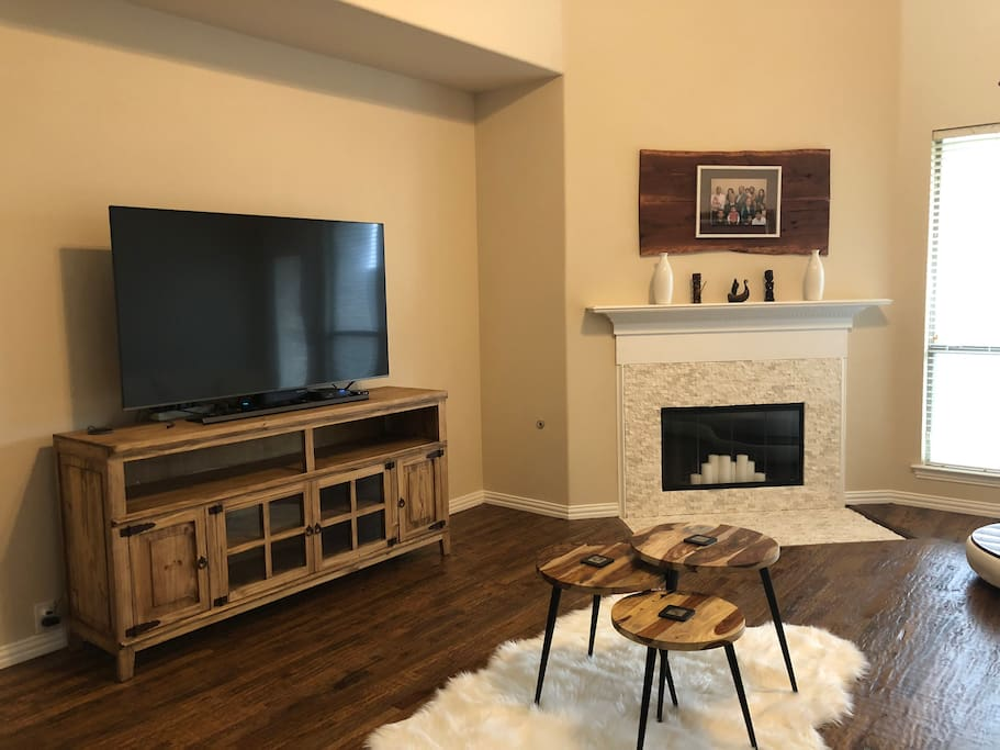 TV and fireplace in family room