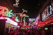 A 10 minute walk, Just up the road is the world famous soi cowboy. You better Google
