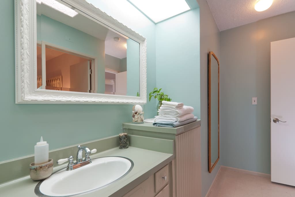 This is the Beachy Retreat's vanity with full length mirror.