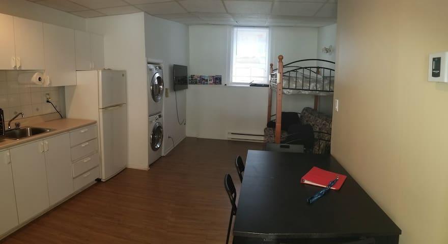 Cuisine, salon et sofa-lit