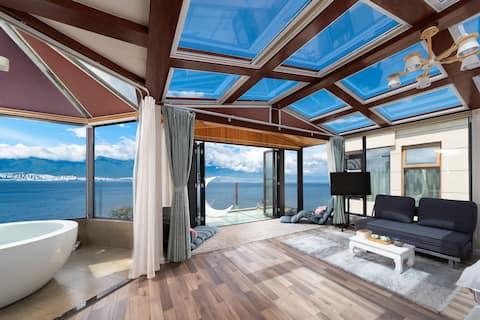 《大理海景民宿》维也纳270°星空海景大床房