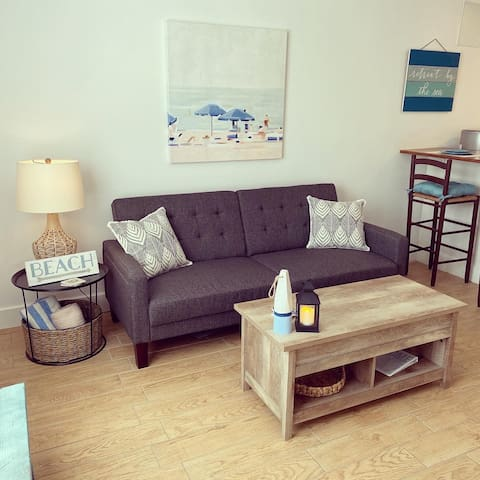 Couch becomes bed. Coffee table top lifts to create a desk.
