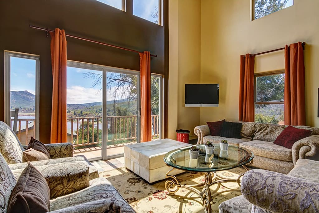 Open Concept Great Room with Spectacular Views of Lake Cuyamaca