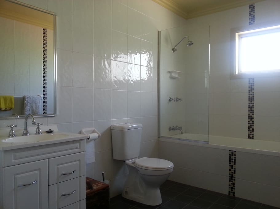 Upstairs is a large bathroom. Shower over bathtub, toilet and hand basin.