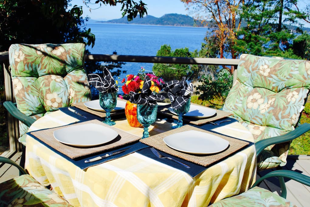 Dine in comfort on your private deck surrounded by natual beauty and sweeping views of the Gulf Islands