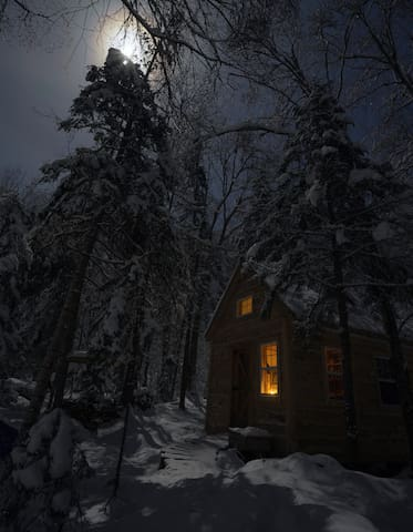 The cottage, snug and warm in -30ºF. Photo credit to our wonderful guest Alyson.