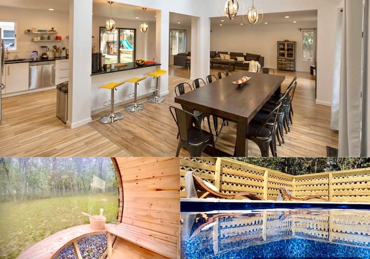 Unique Hideout w/Hot Tub,SAUNA,Game Room,HVAC,Pool