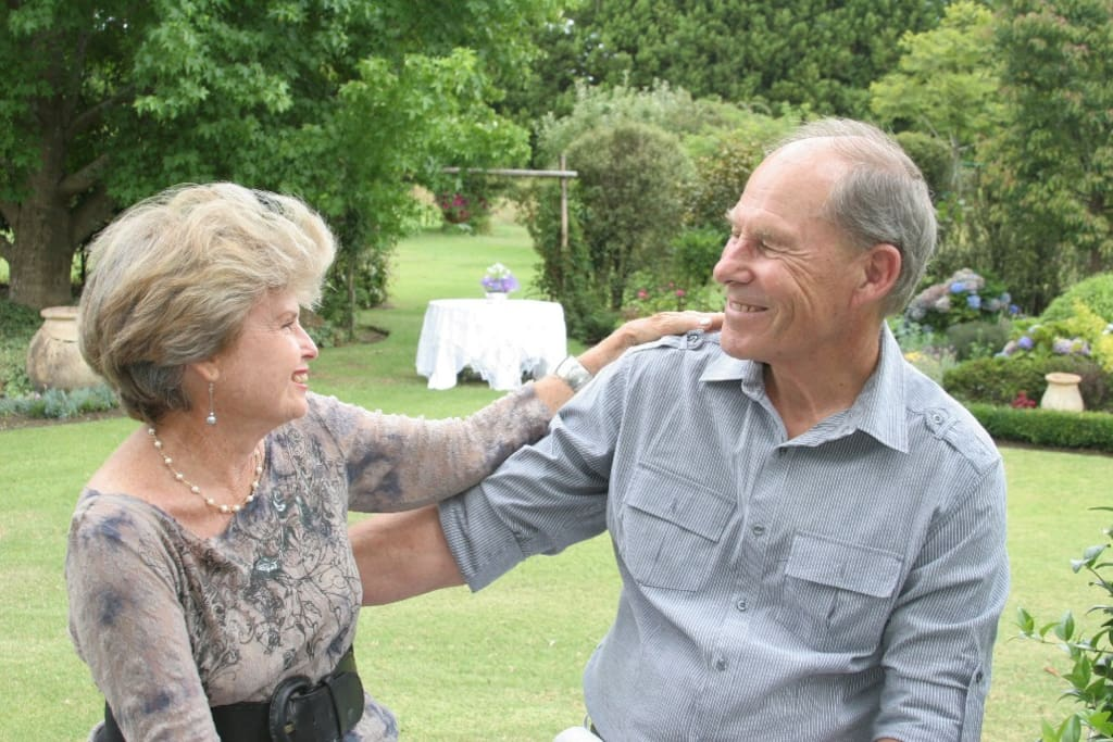 Tere & her husband Michael in their Kerikeri garden.