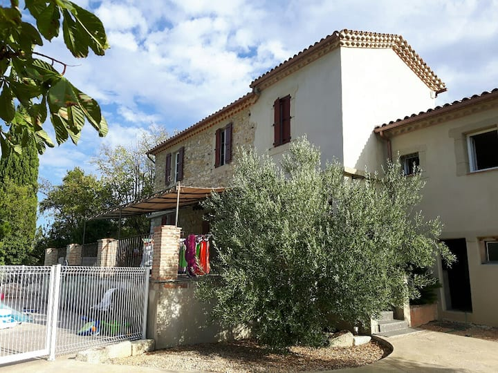 Family house in Cevennes, swimming pool and view.