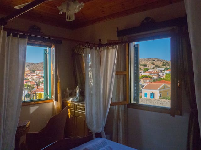 View of the windows from the bed