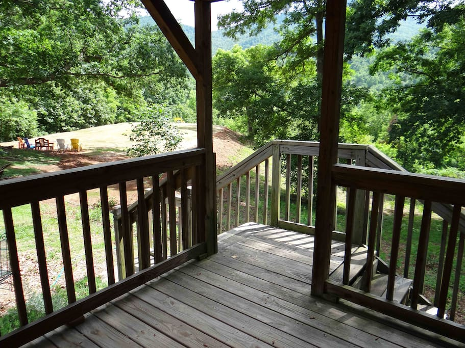 This is the view from the covered porch on the Blue Ridge Mountains Cabin.
