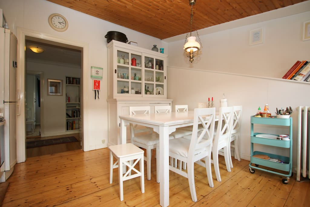 The dining room and kitchen!