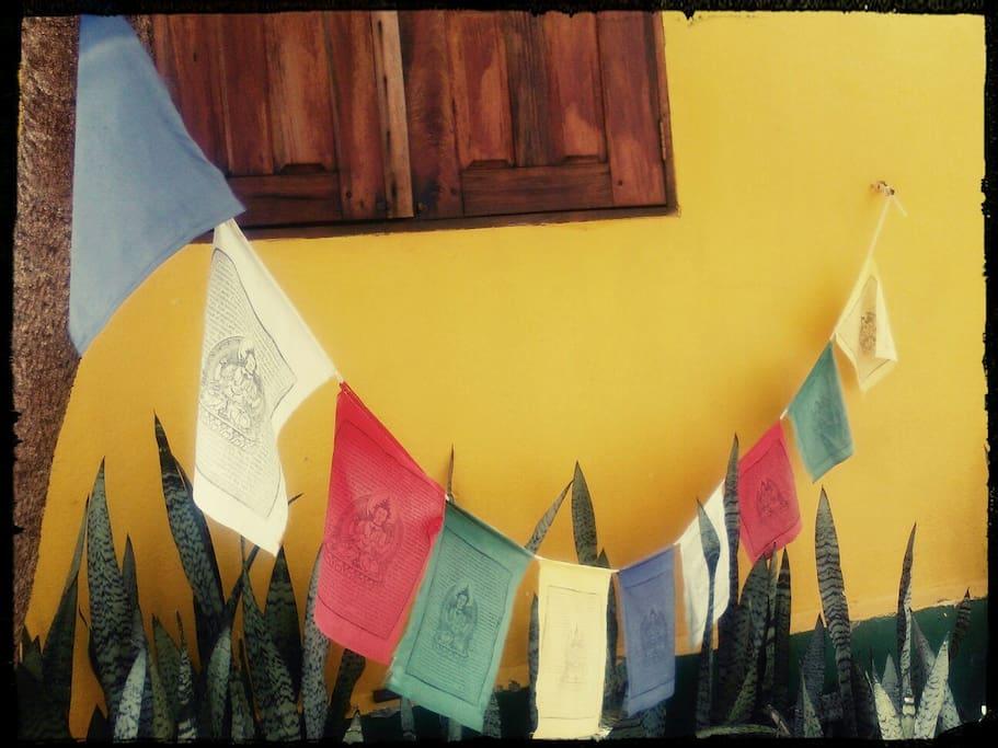 bandeiras trazidas da California com a oracao do Dalai Llama para a paz universal.