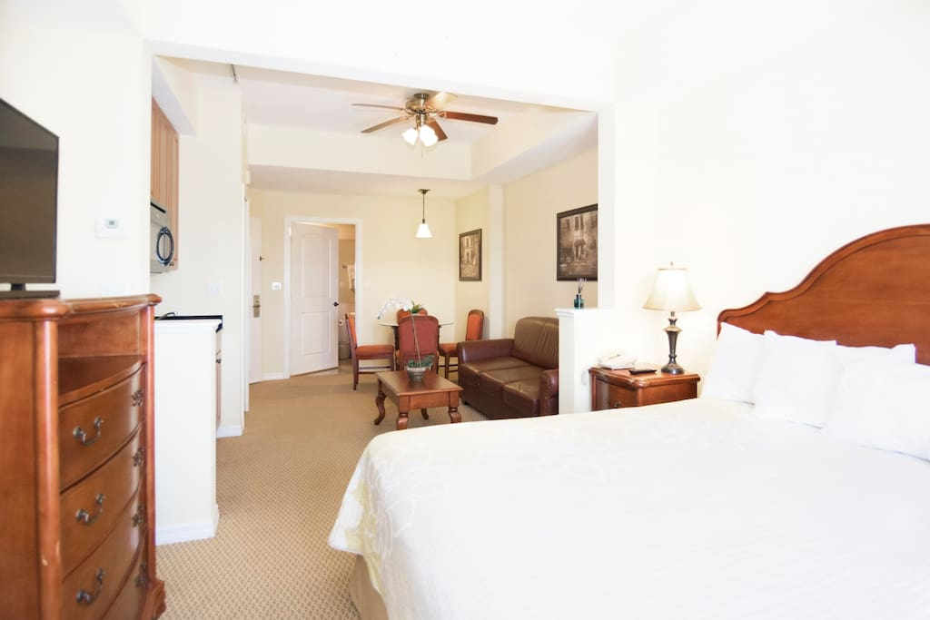 Complete view of the Studio Suite with King size bed