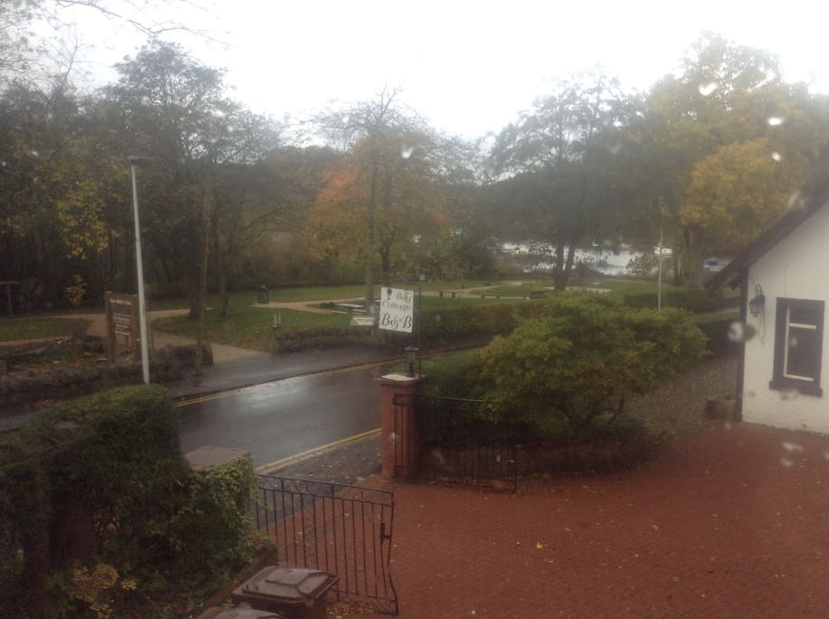 View from window overlooking boatyard and Loch Lomond