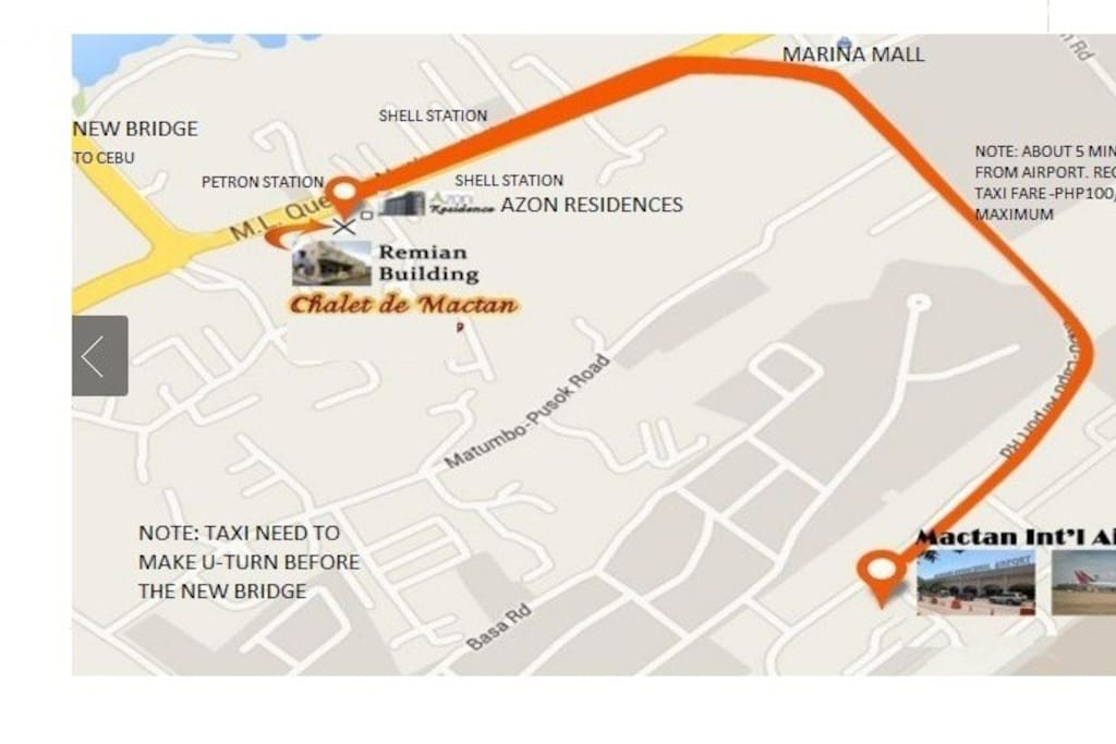MACTAN AIRPORT TO REMIAN HOTEL MAP