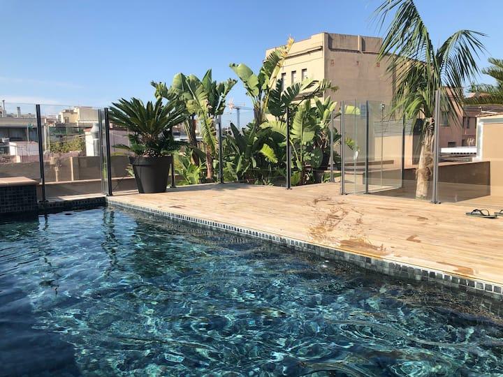 Loft with 2 pools+roof terrace,  Mercado S. Antoni