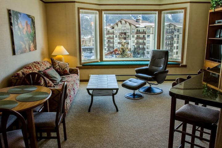 Stunning SKY Chute Views! Hot Tub, 5 Minutes From Center Village Lifts and Bars- Bike and Ski Locker - Copper Mountain - Condo