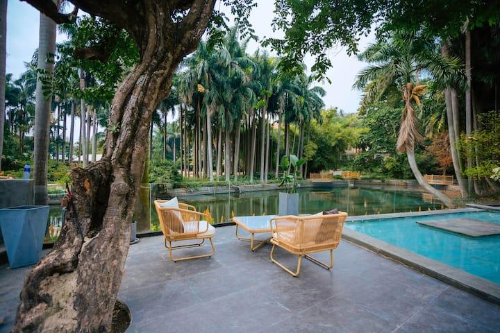 带花园泳池,近内厝澳码头,美华沙滩,日光岩等景区超大庭院悠然隐庐大床房
