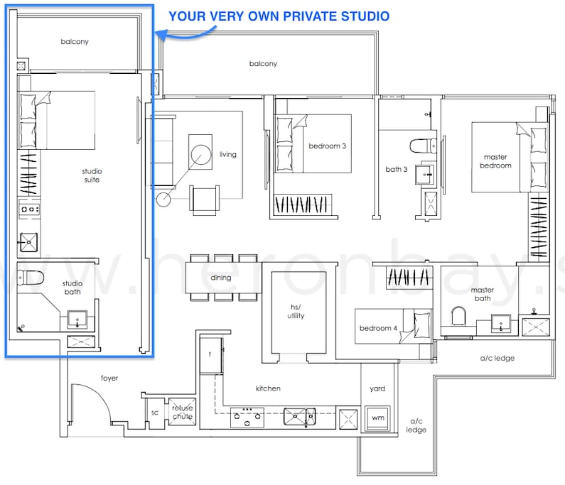 We share a common foyer but you have your own private studio, and we live next door.