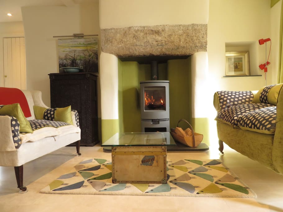 Welcoming wood burner and comfy sofas