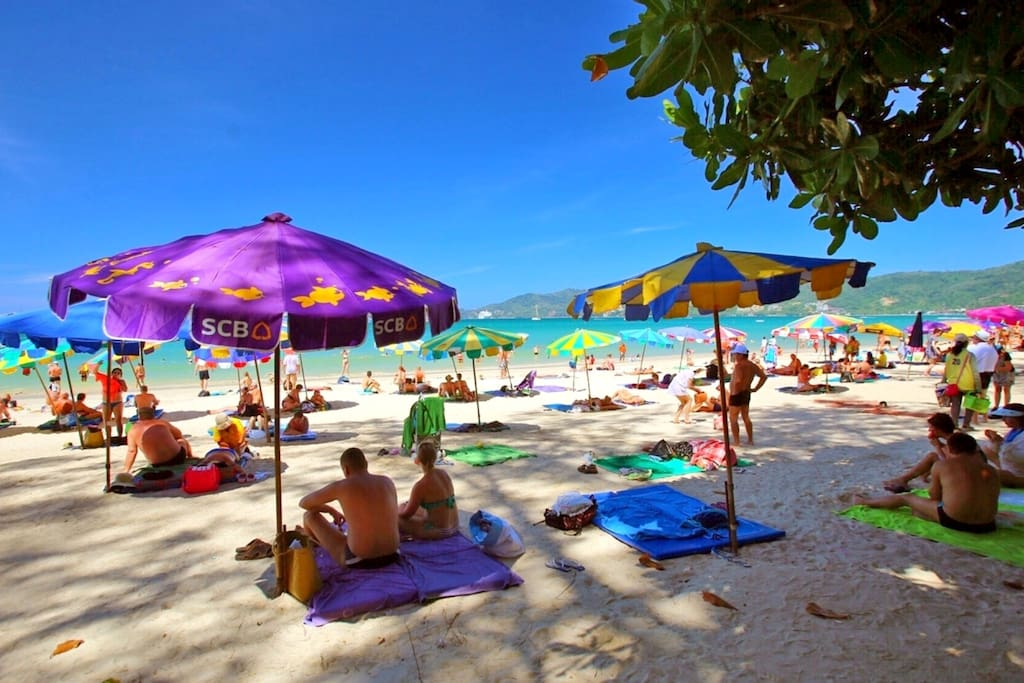 Stretch of Patong beach you will reach with 20min walk from the apartment.