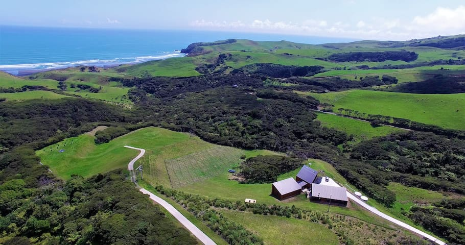 Birdseye view of the property, Ruapuke Surf in the background