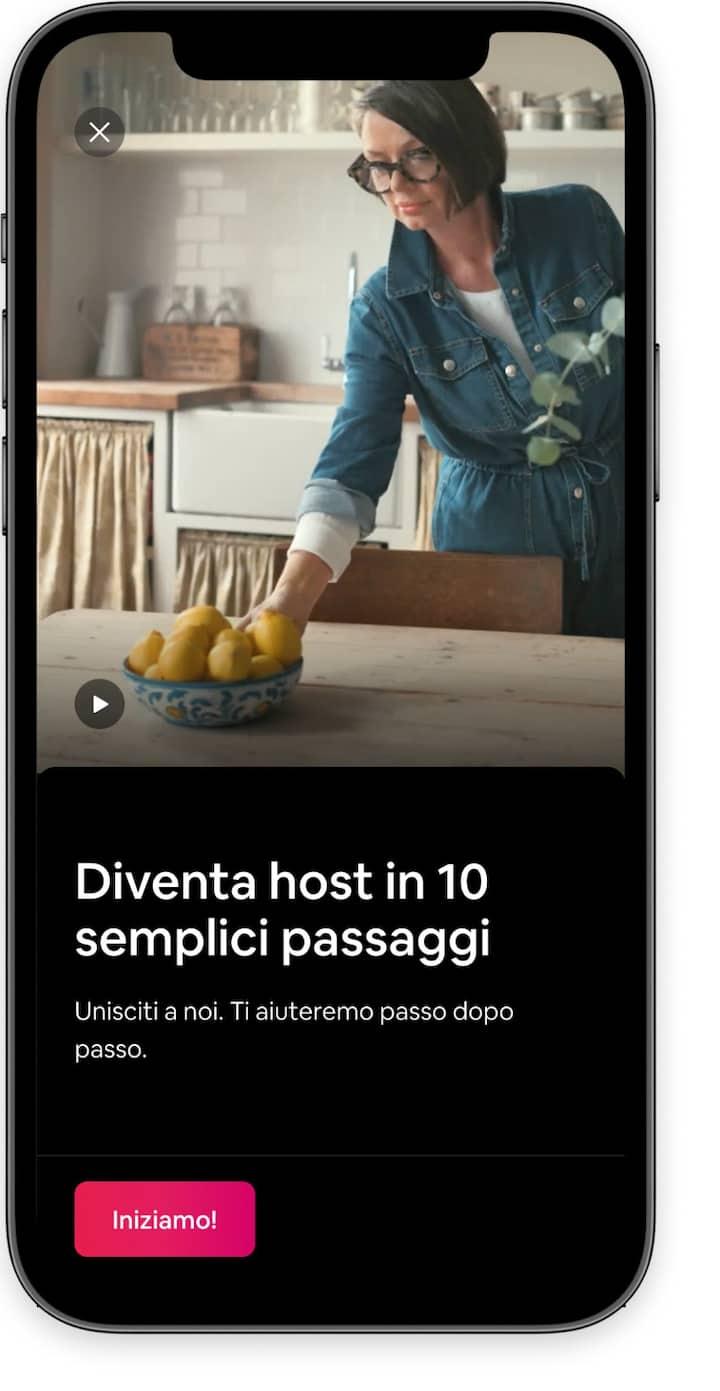 Introduzione all'attività di host con un video di benvenuto nell'app di Airbnb.
