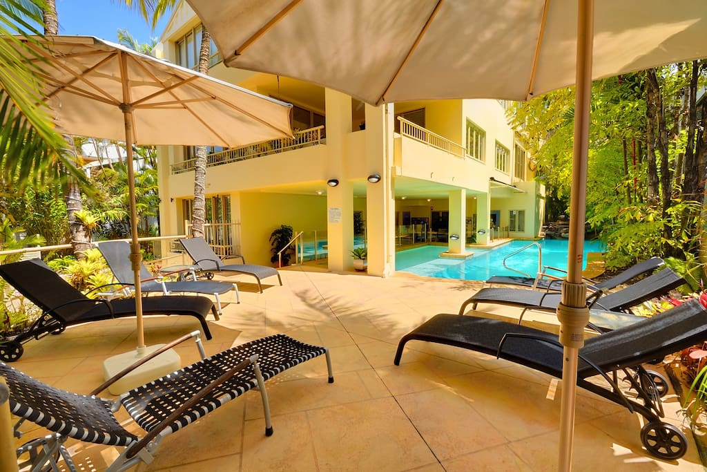 Pool and sunlounges available for use