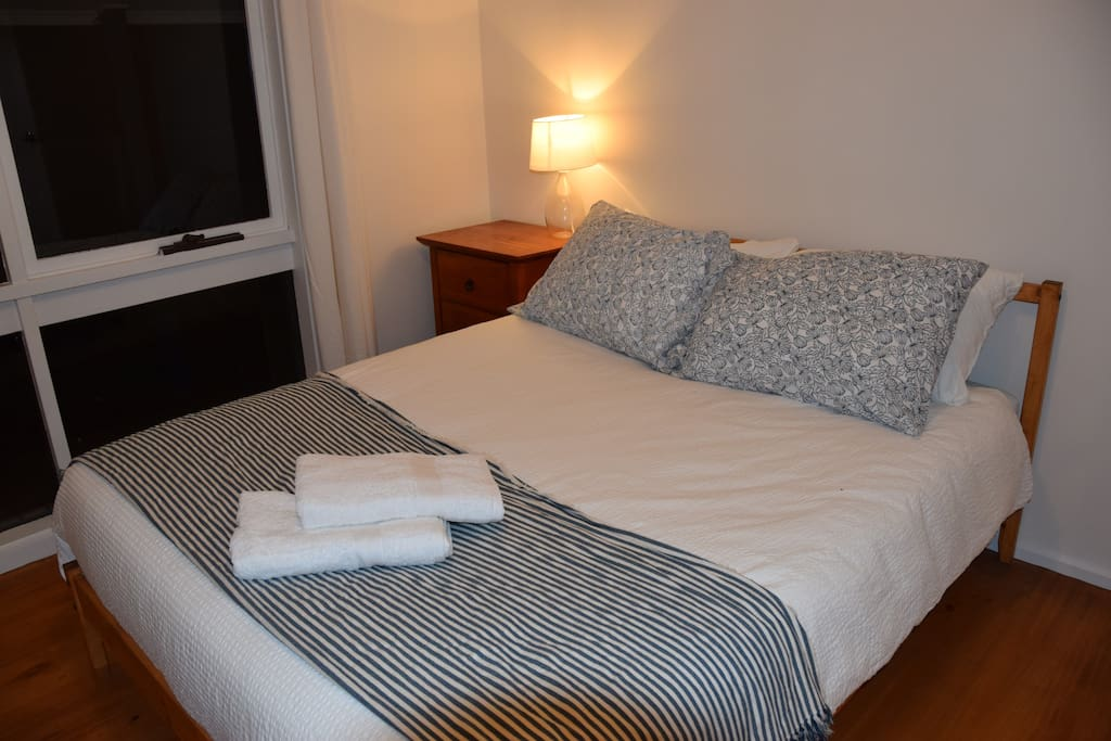 The double room has plenty of privacy, and 2 wardrobes to hang clothes.