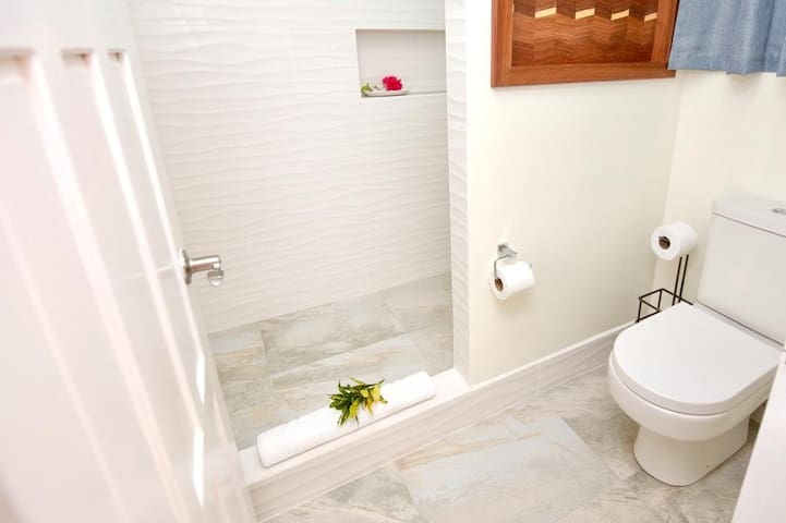 Bright and clean bathroom space