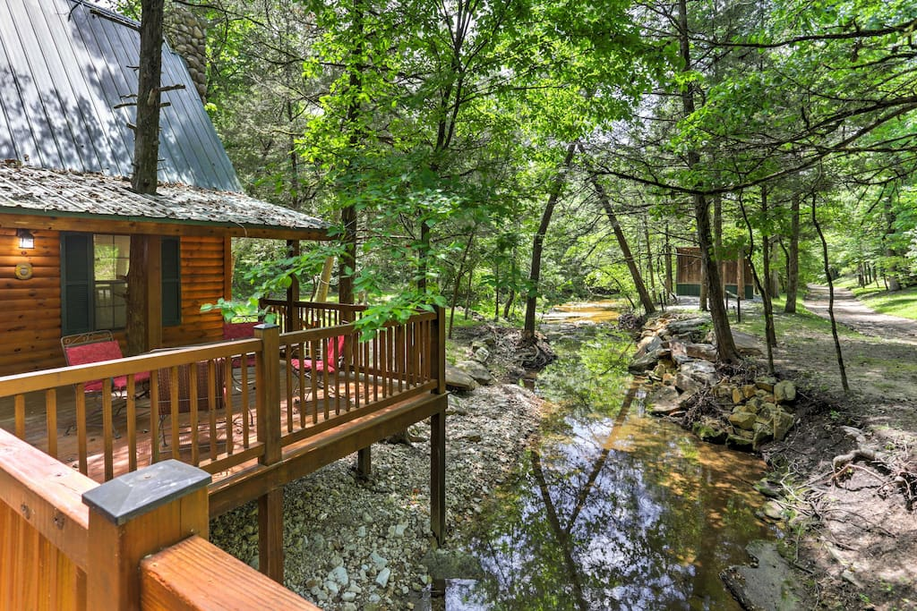 A rejuvenating Marble Falls retreat awaits you at this 1-bedroom, 2-bathroom vacation rental cabin settled in a unique creek setting.