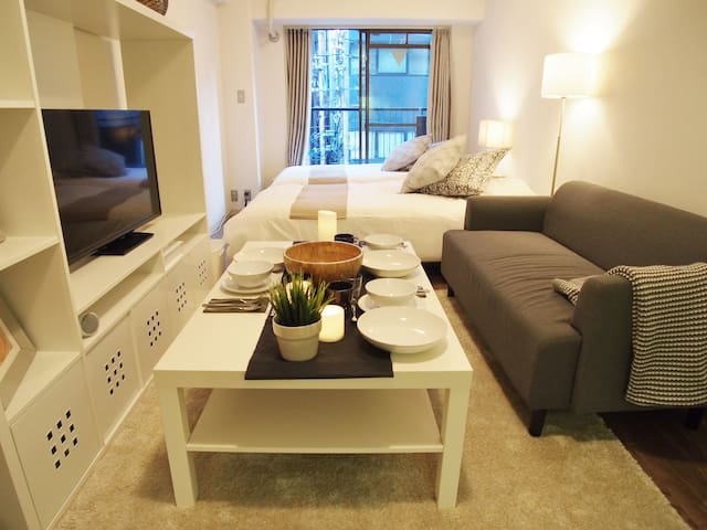 Shinsaibashi 5min walk/Ramen/near Namba/FreeWifi99 - Osaka - Appartement