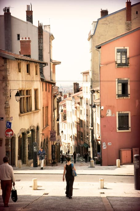 Shops and boutiques in the lovely Croix Rousse neighborhood of Lyon.