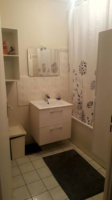 Salle de bain avec baignoire  Bathroom and toilets seperate