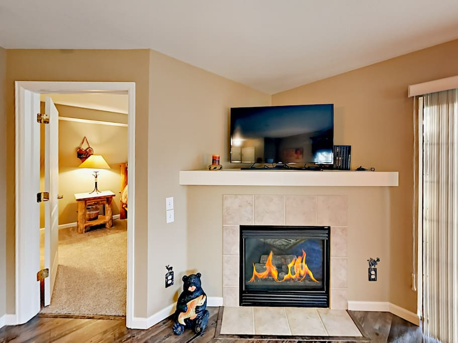 "A 48"" flat screen TV and a gas fireplace add contemporary comforts."