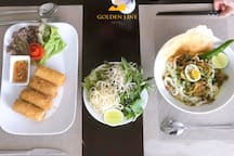 Fried spring roll and Quang noodles soup