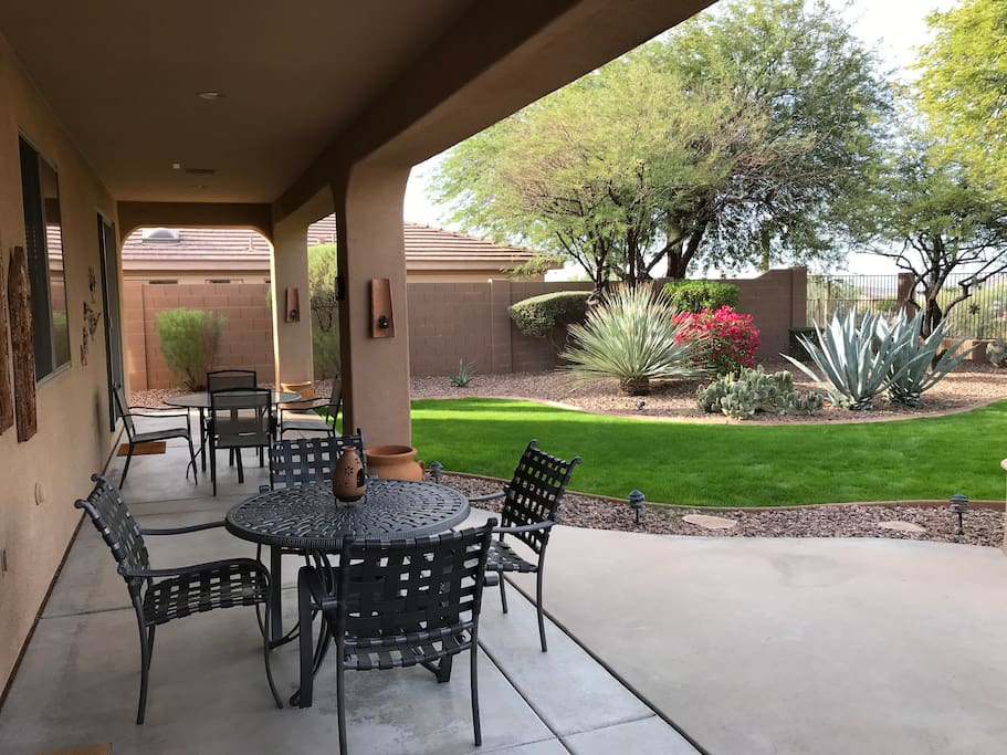Enjoy coffee in the morning.  Full length covered patio