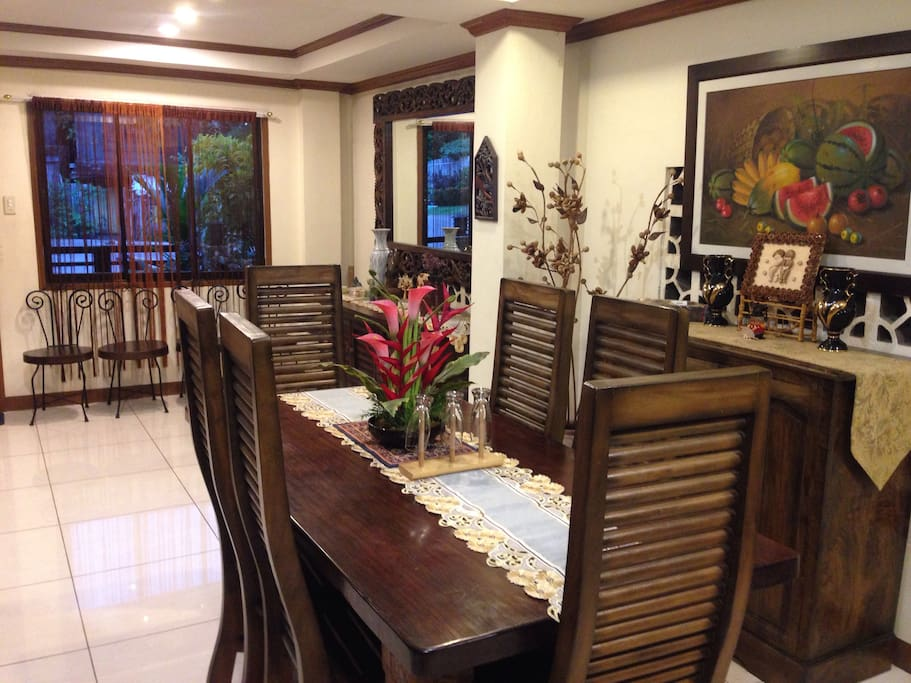 dining area  with furnitures made of Magkuno (iron wood) from Surigao Province