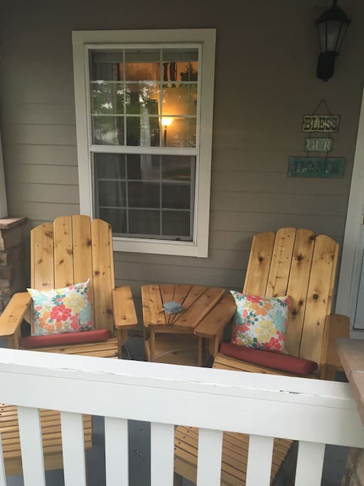 Adirondack chairs to sit and drink coffee & read on front porch.