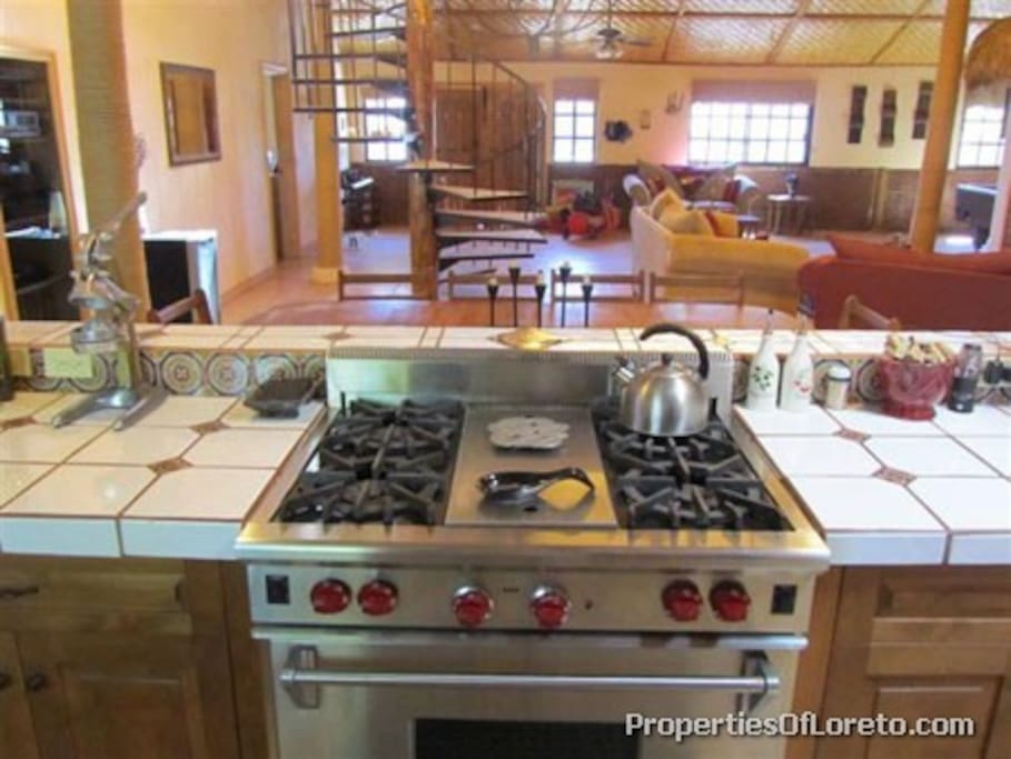 Large kitchen with commercial appliances